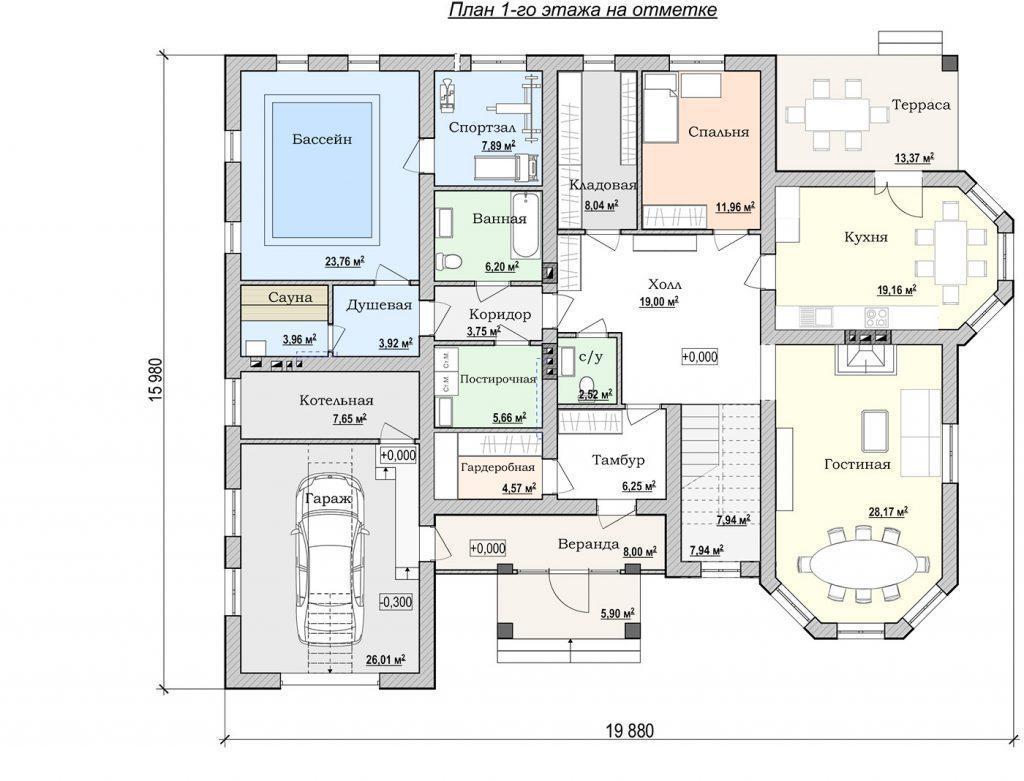 План этажа дома с бассейном и гаражом