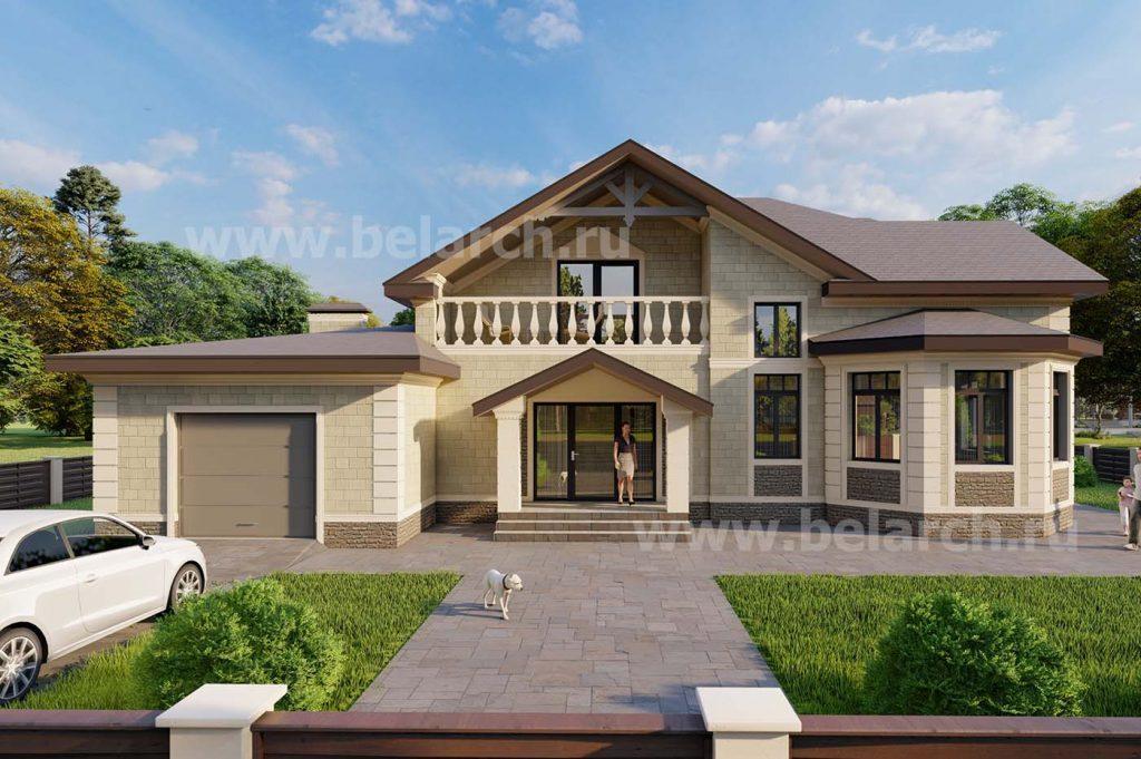 Проект дома с бассейном и гаражом