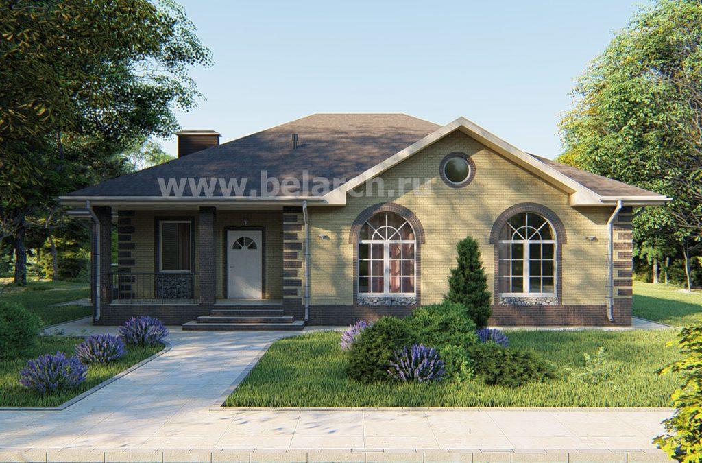 Проект удачного одноэтажного дома с арочными окнами