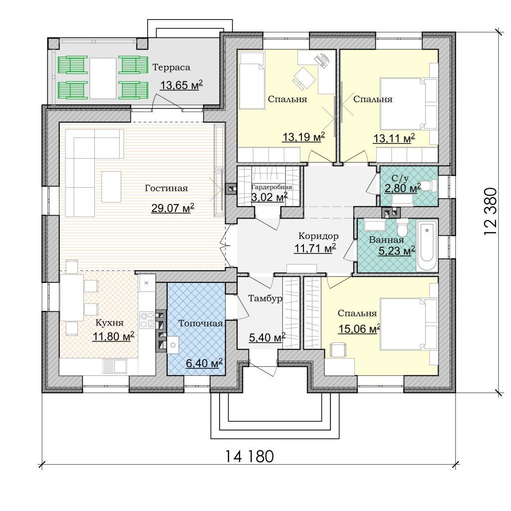 план дома Баварская кладка