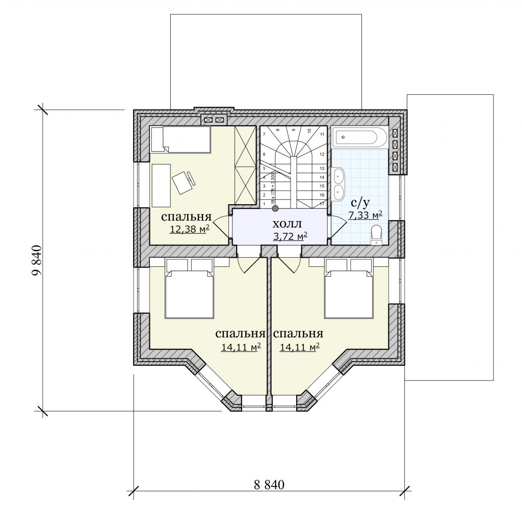 Проект дома с мансардой и небольшим подвалом