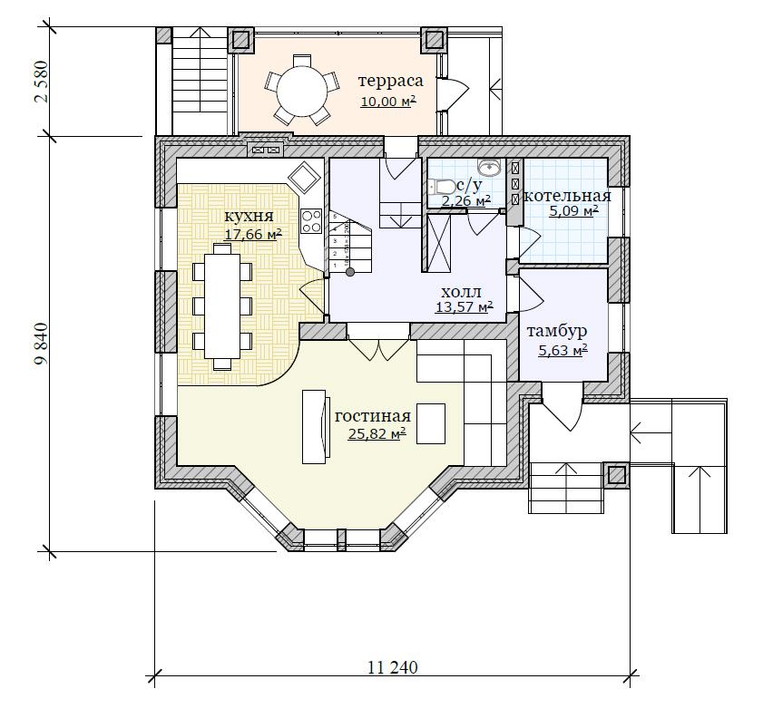План небольшого жилого дома с мансардой и подвалом