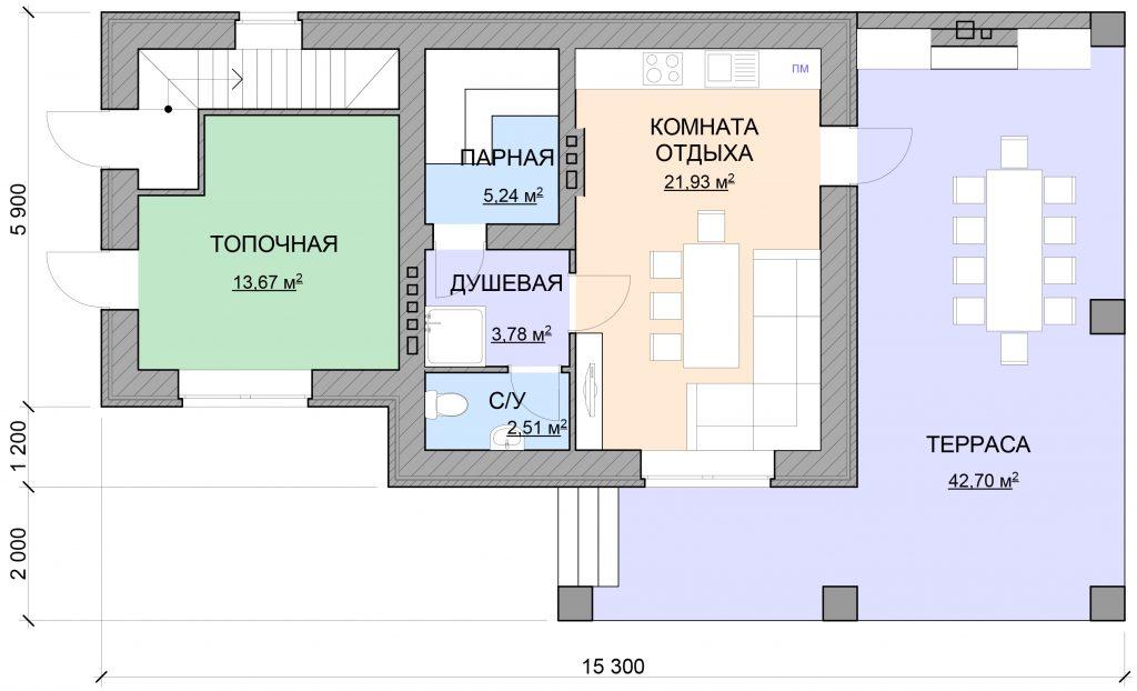 План небольшой бани 50 кв.м.