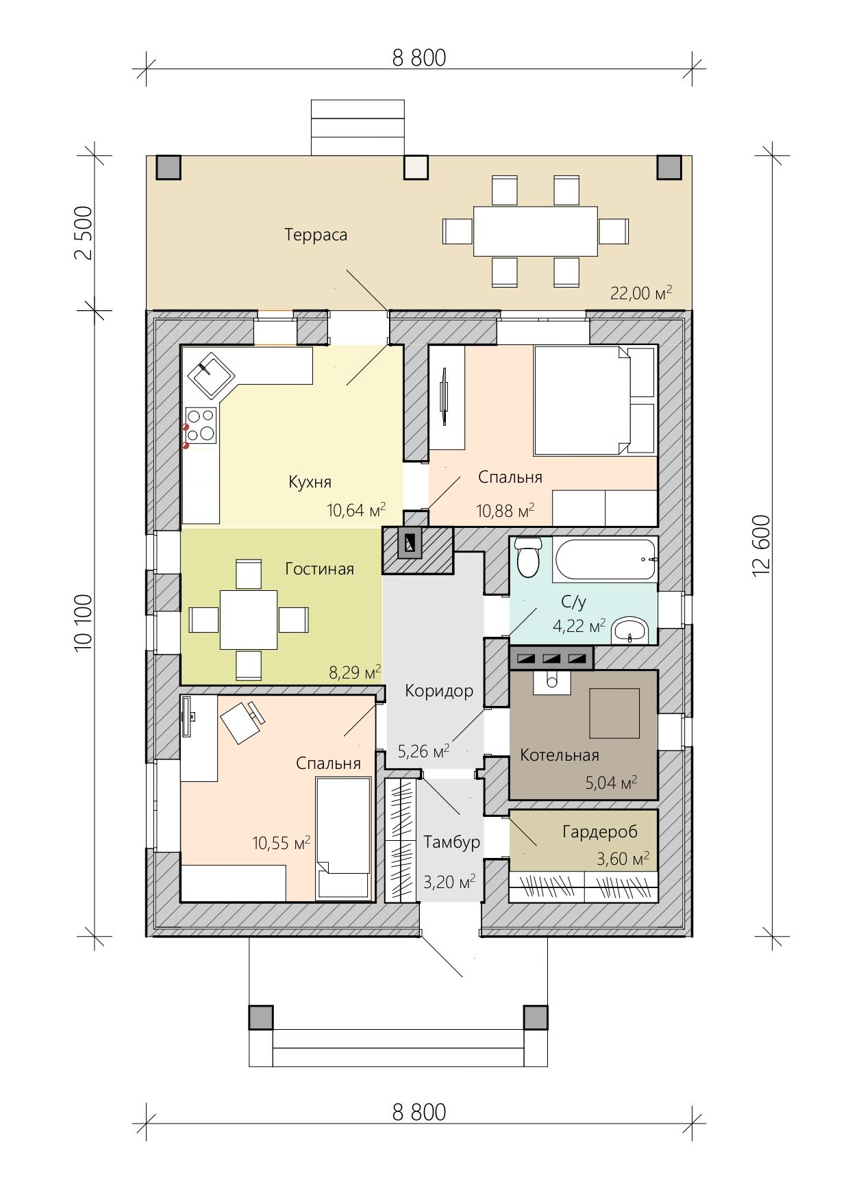 Проект дома 8 на 10 с террасой