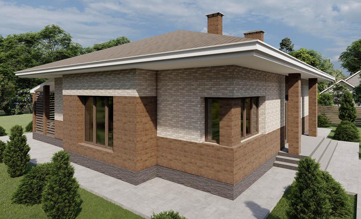 Одноэтажный дом с большой кухней-гостиной и тремя спальнями