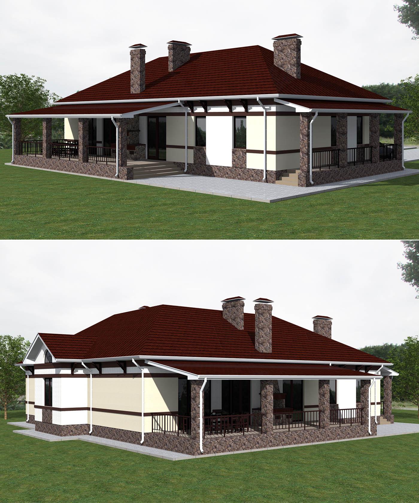 Проект дома буквой Г с подвалом и гаражом