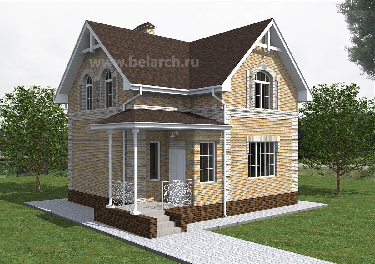 Проект трехкомнатного дома 8 на 8 с мансардой