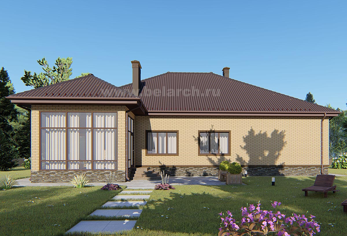 Проект дома с большими окнами 3 спальни и кухня-гостиная