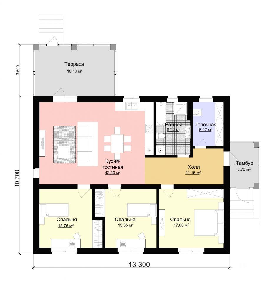 Проект дома большая кухня-гостиная и три спальни