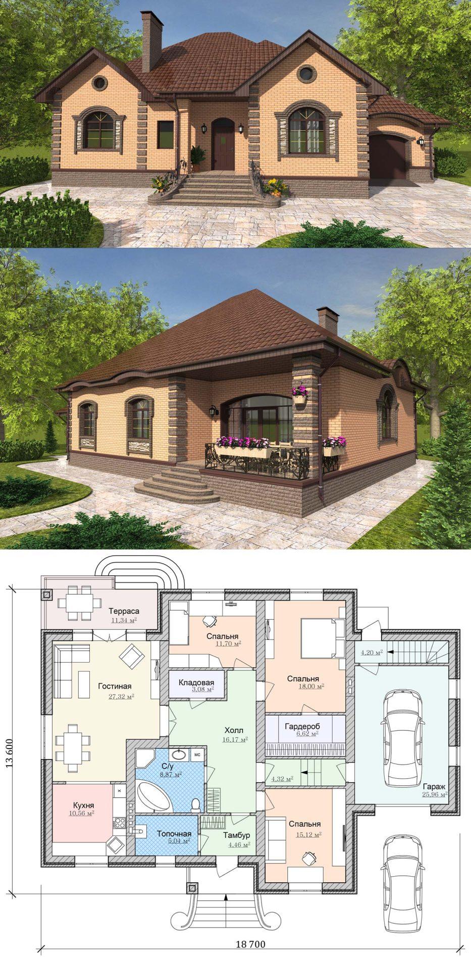 Проект дома из пенобетона с тремя спальнями