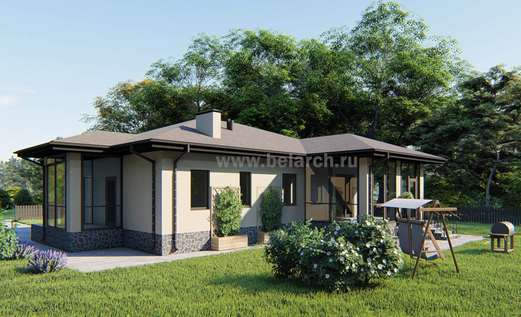 проект дома с большой кухней-гостиной и тремя спальнями