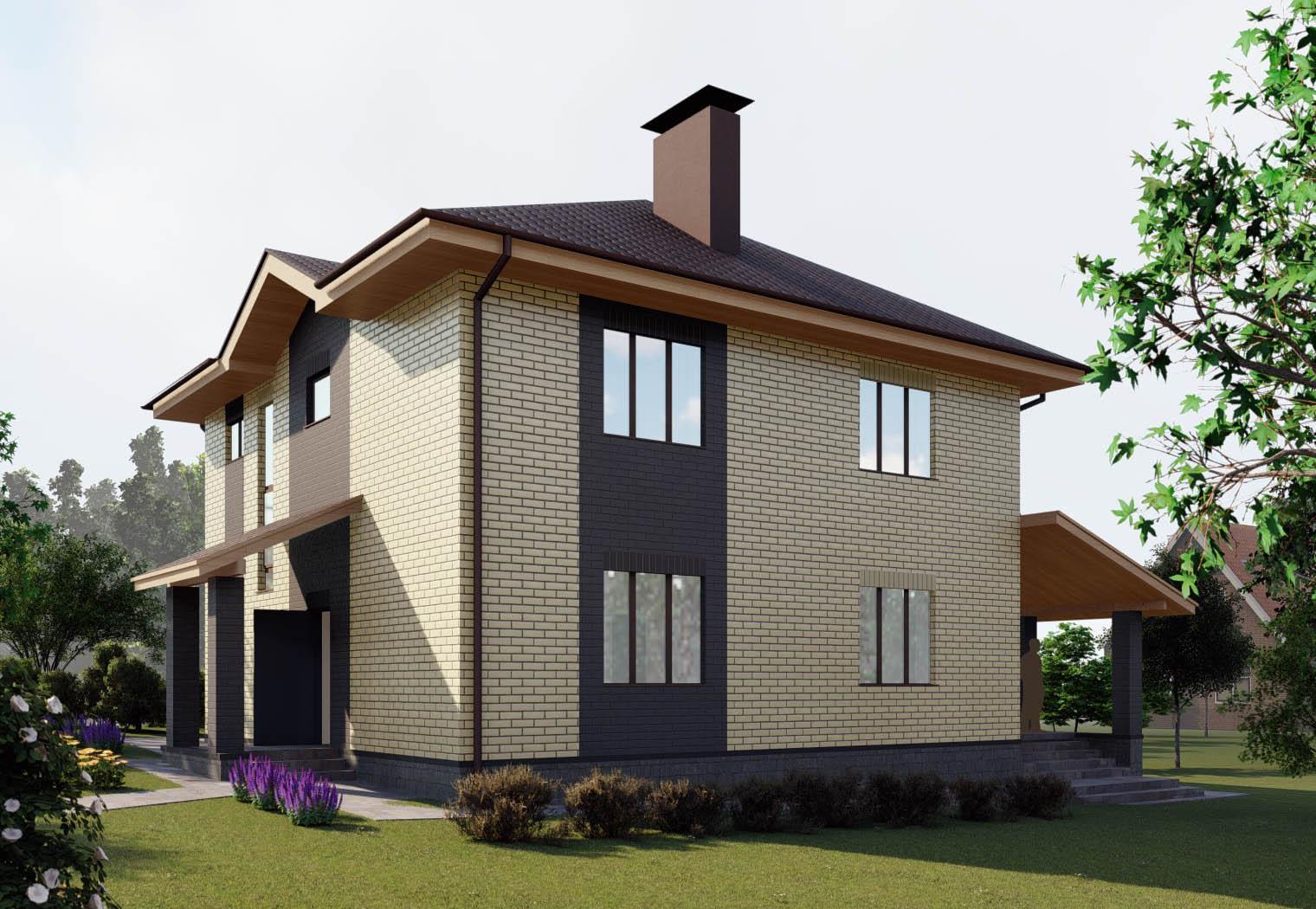 Проект двухэтажного дома с большой гостиной