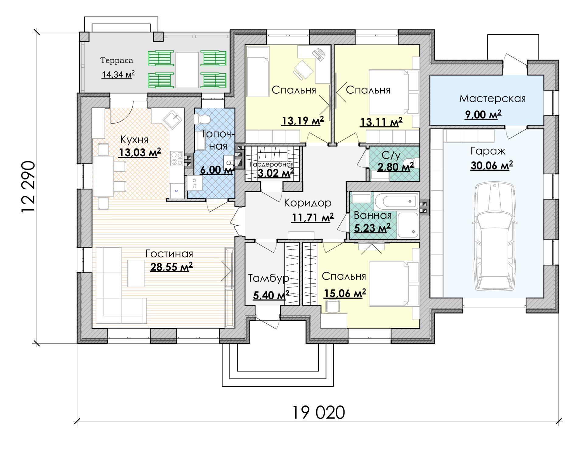 план дома 12 на 19