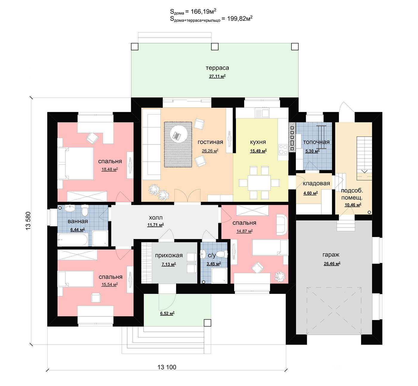 План удобного одноэтажного дома из газобетона