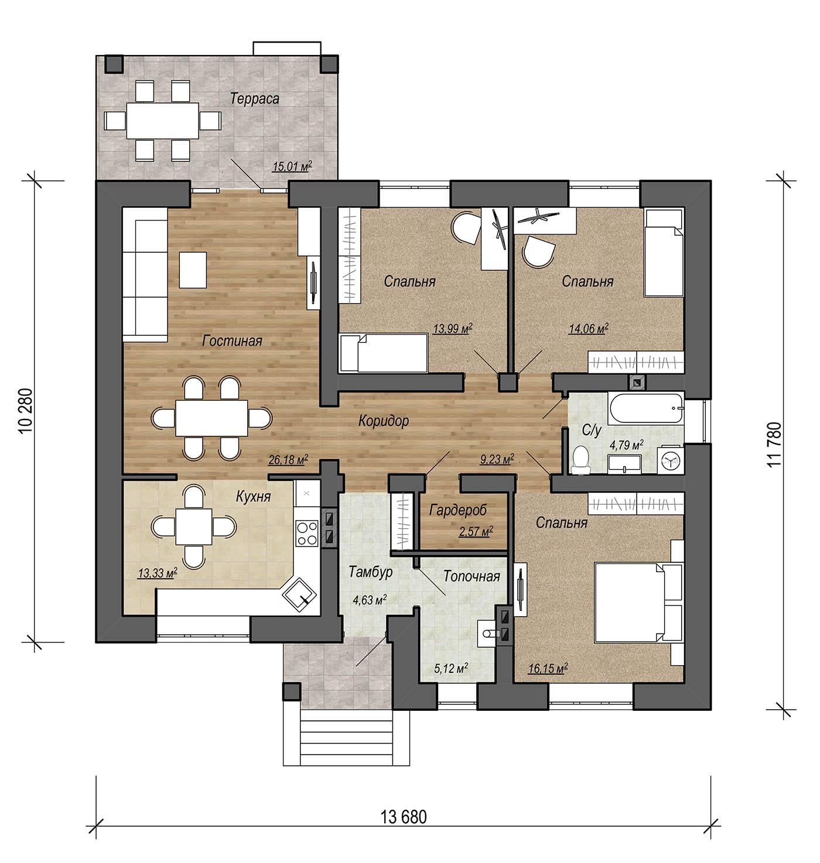 План одноэтажного дома из газосиликатного блока