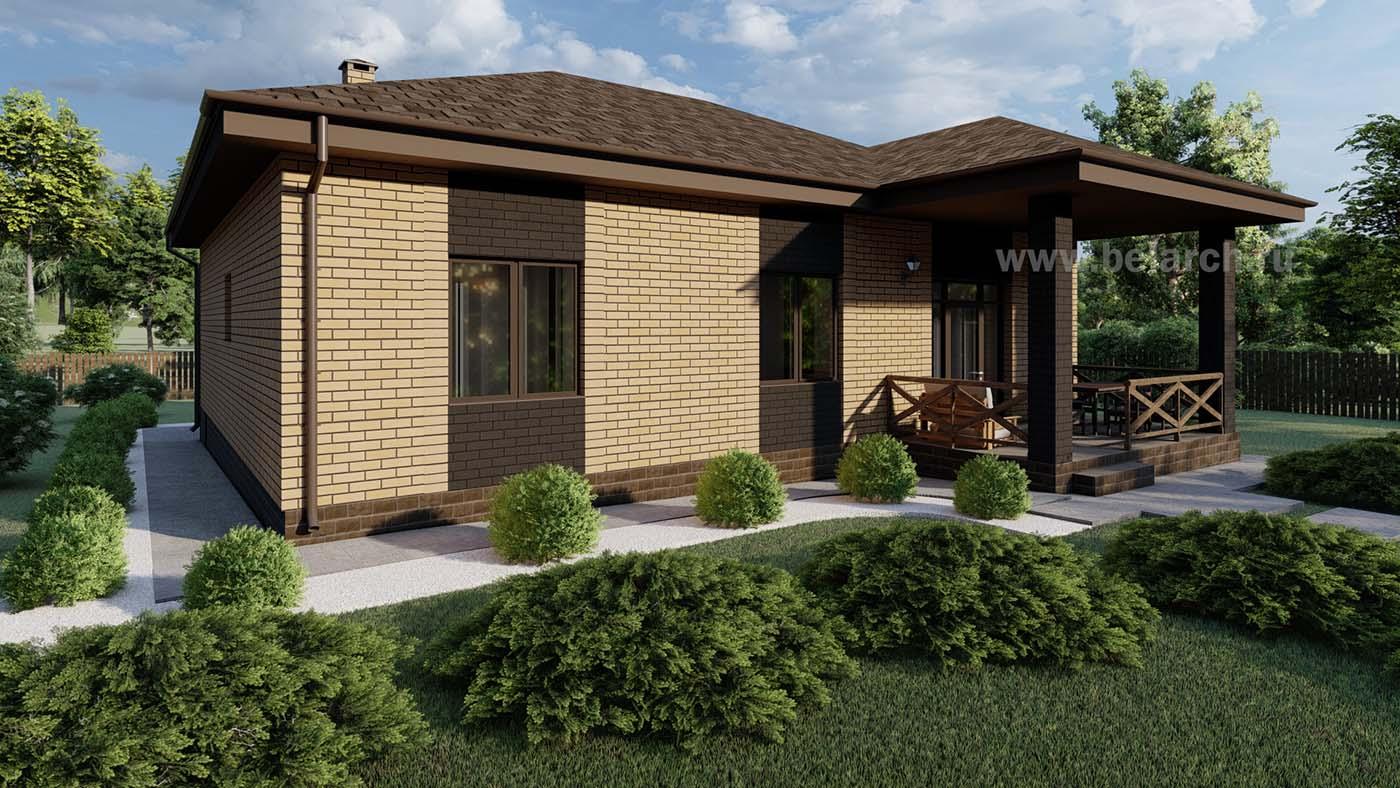 Проект одноэтажного дома из газосиликатного блока