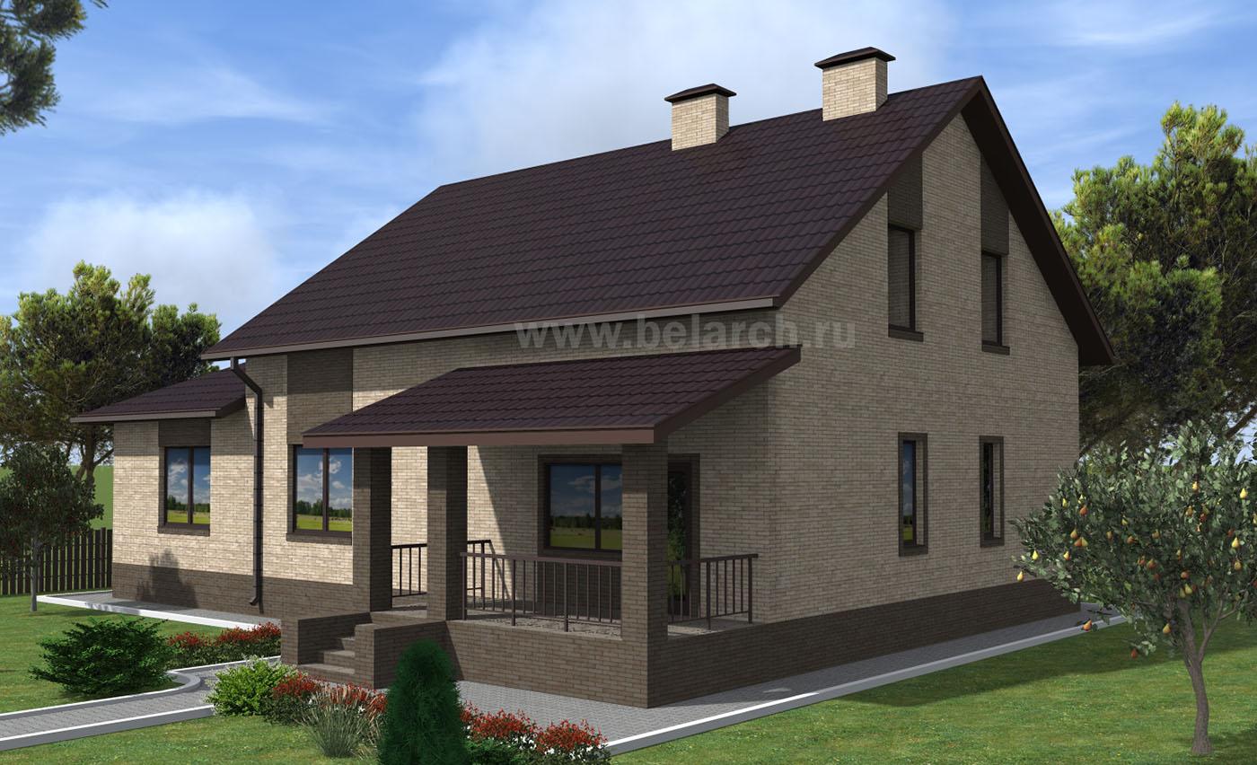 Проект дома с гаражом 16 на 13 метров