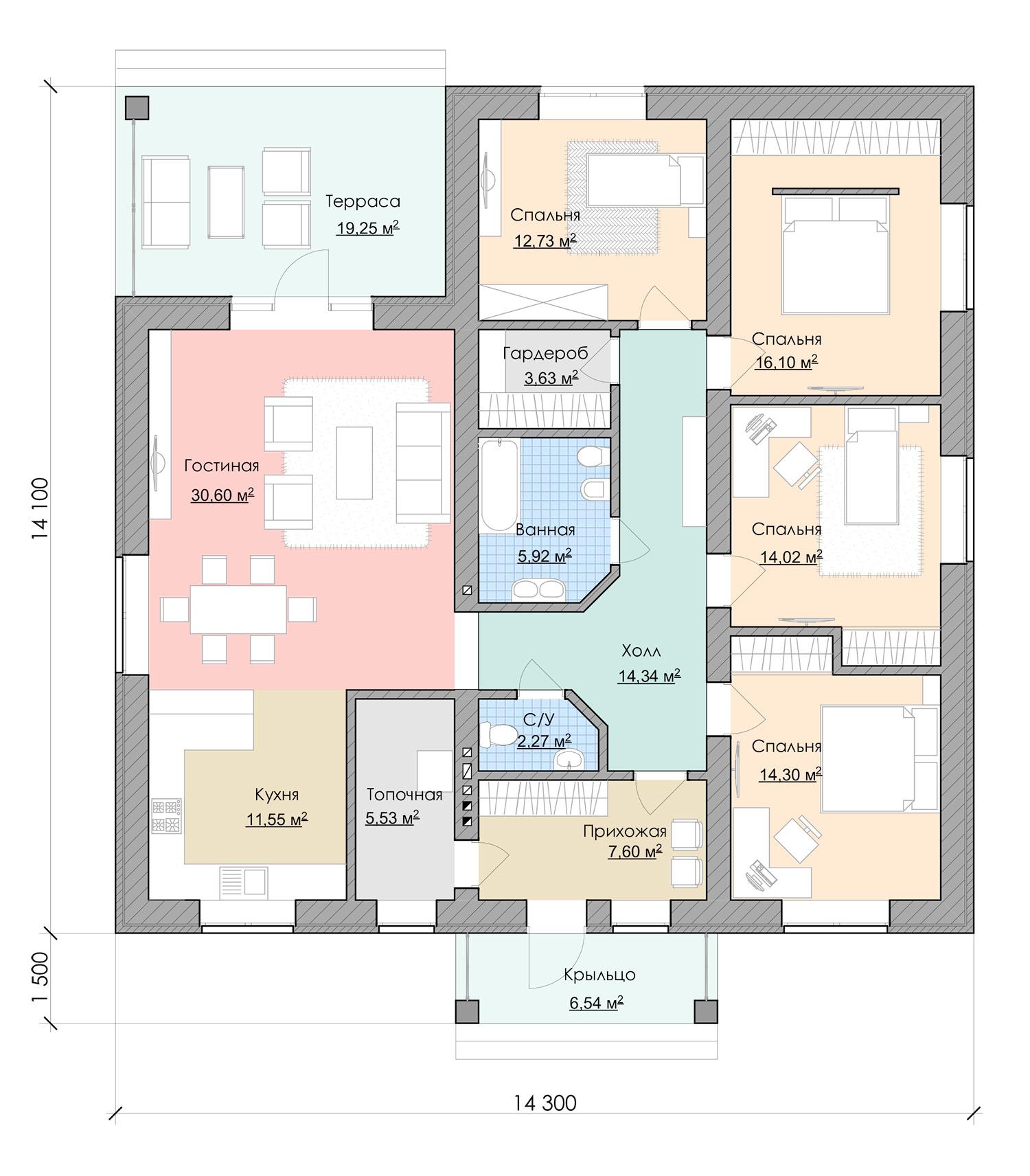 Планировка жилого одноэтажного дома 4 спальни
