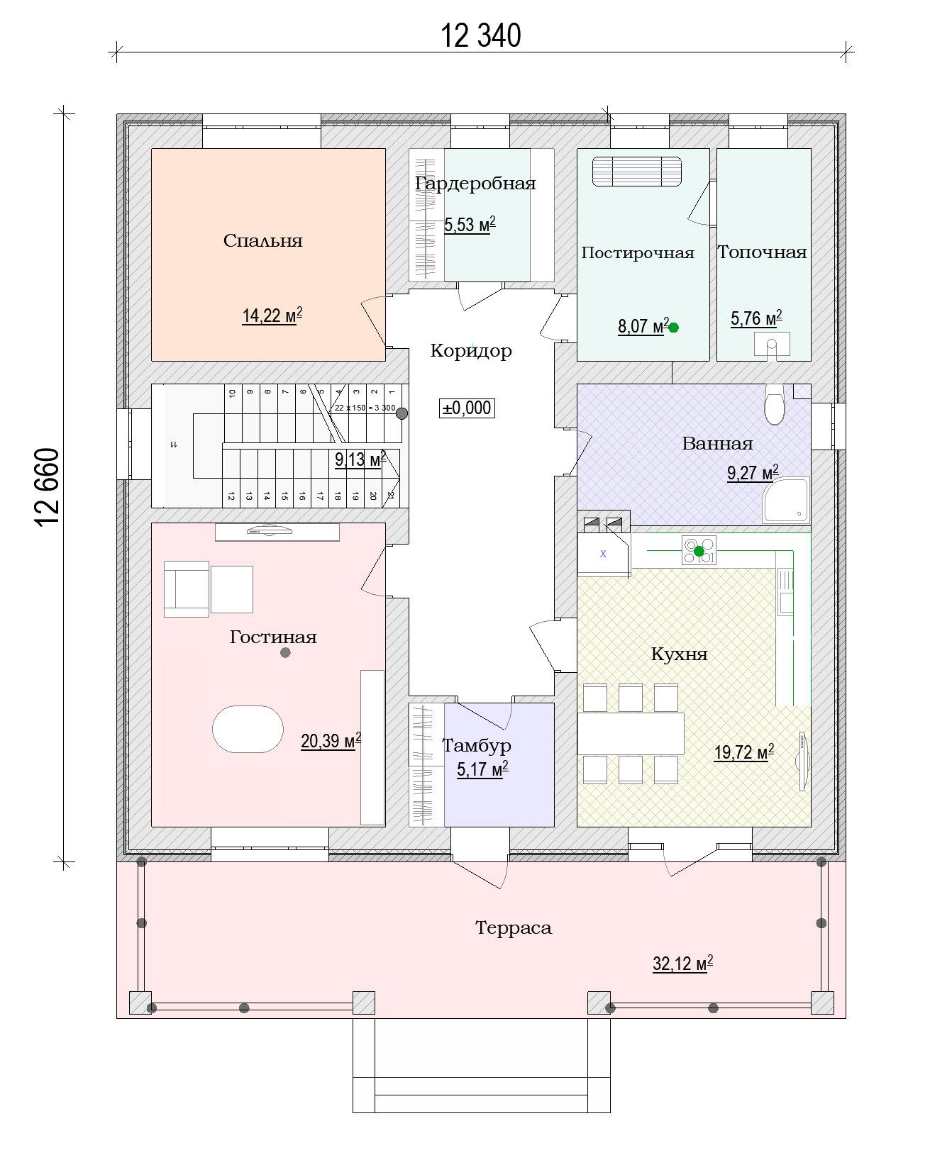 План красивого двухэтажного дома из кирпича