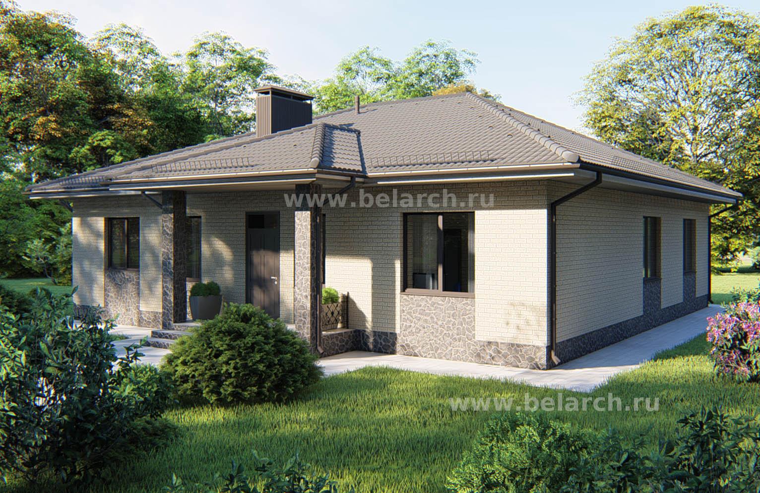 Проект одноэтажного дома 4 спальни - 160 кв.м.