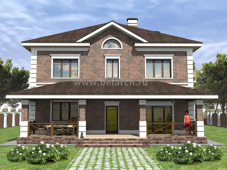 Проект красивого двухэтажного дома из кирпича