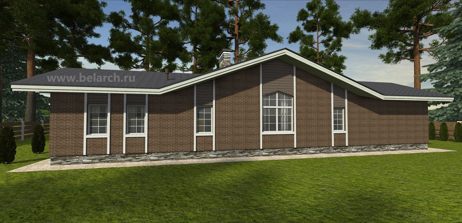Проект вытянутого одноэтажного дома 120 м2