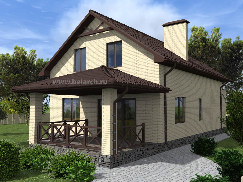 Проект кирпичного дома с мансардой 150 кв.м. 12 х 8 м