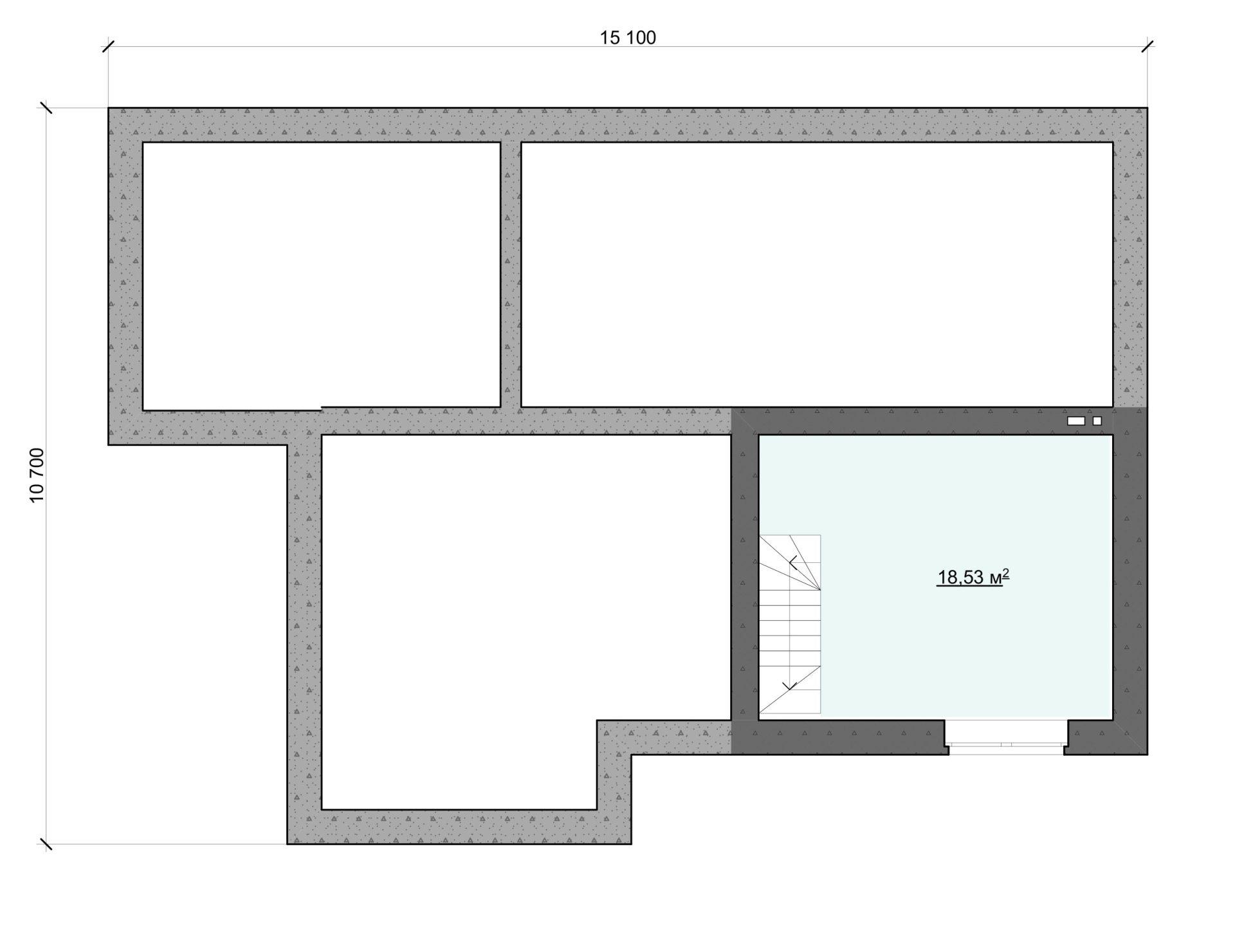 Проект одноэтажного дома с цоколем и большим окном