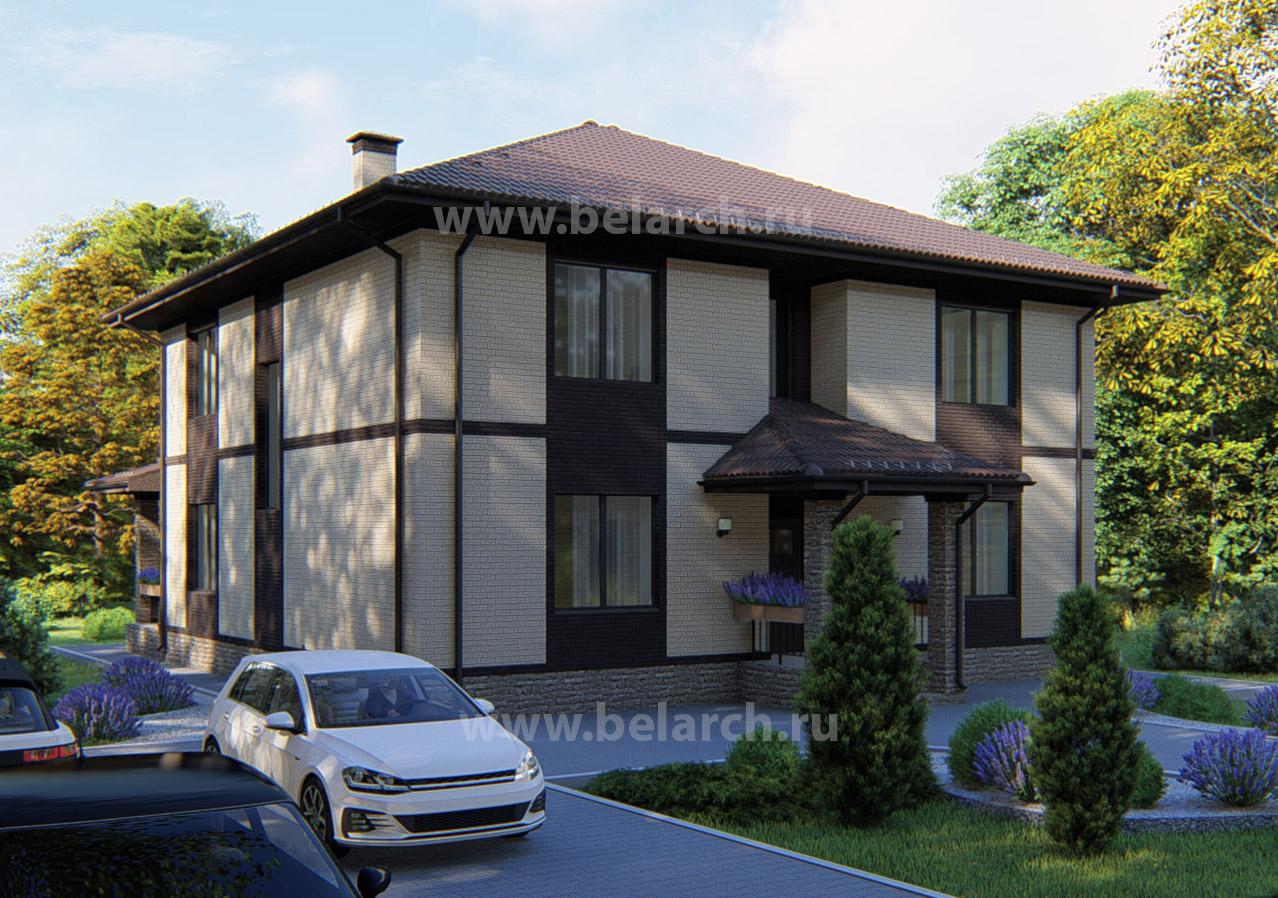 Проект двухэтажного кирпичного дома 250 м2 с большой гостиной