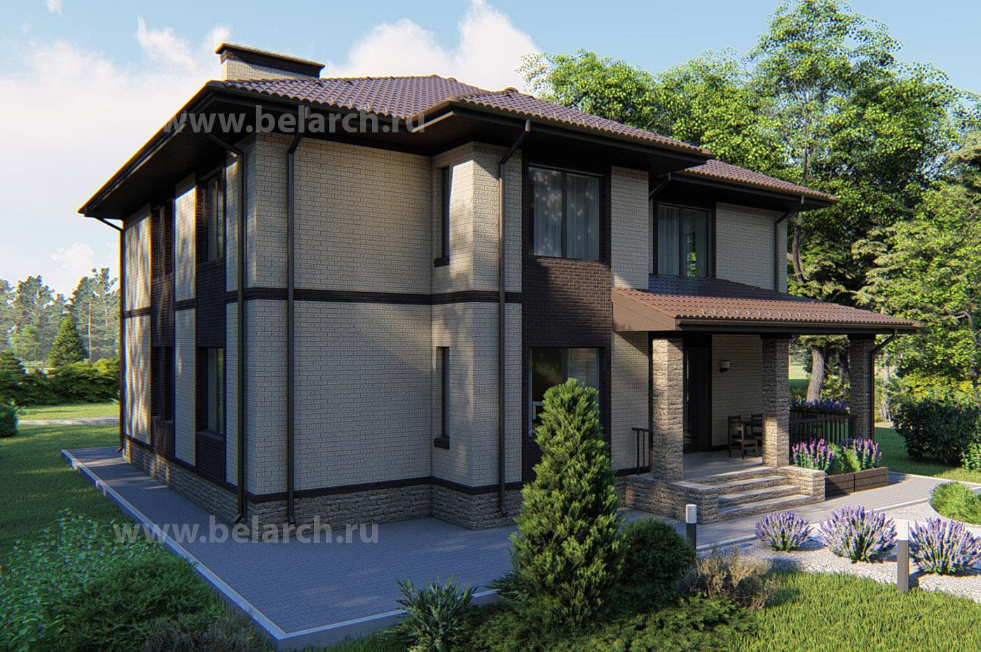 Проект двухэтажного кирпичного дома с большой гостиной