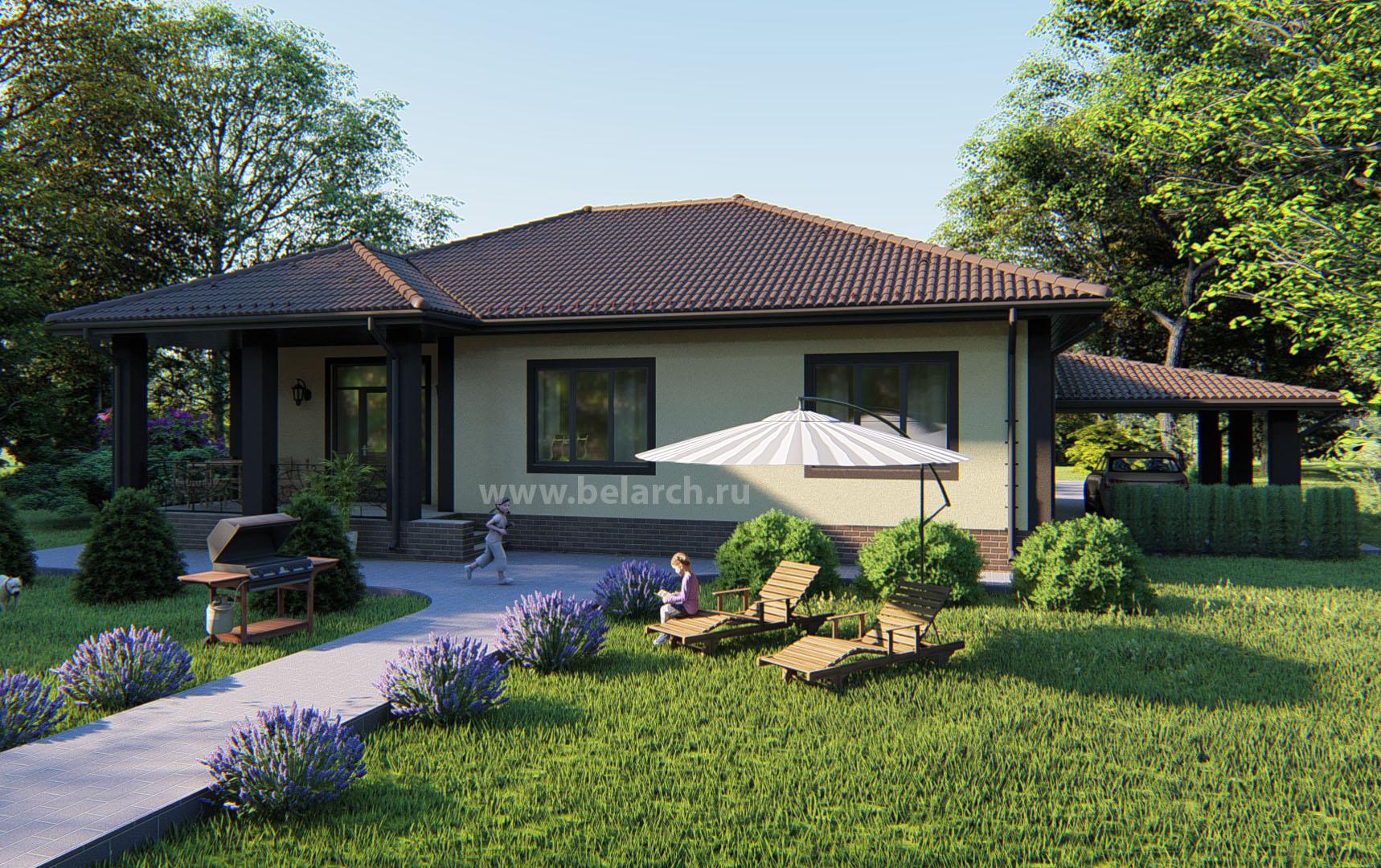 Проект дома 150 кв.м. с тремя спальнями и террасой