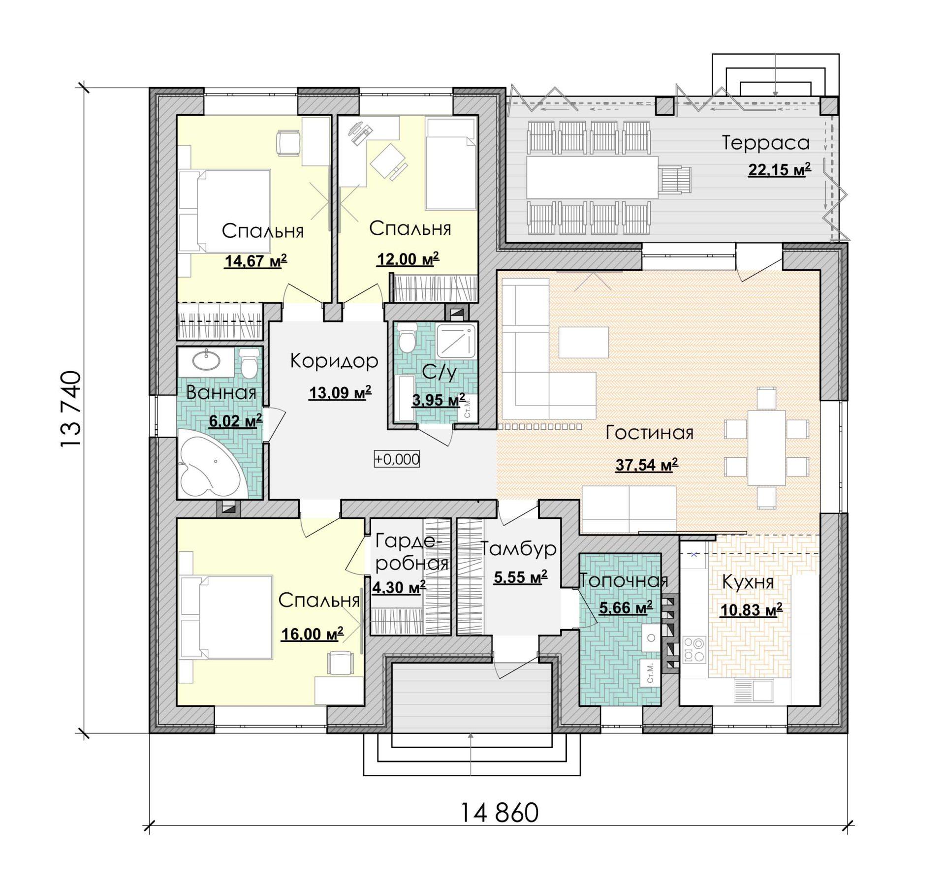 Проект дома 3 спальни + терраса