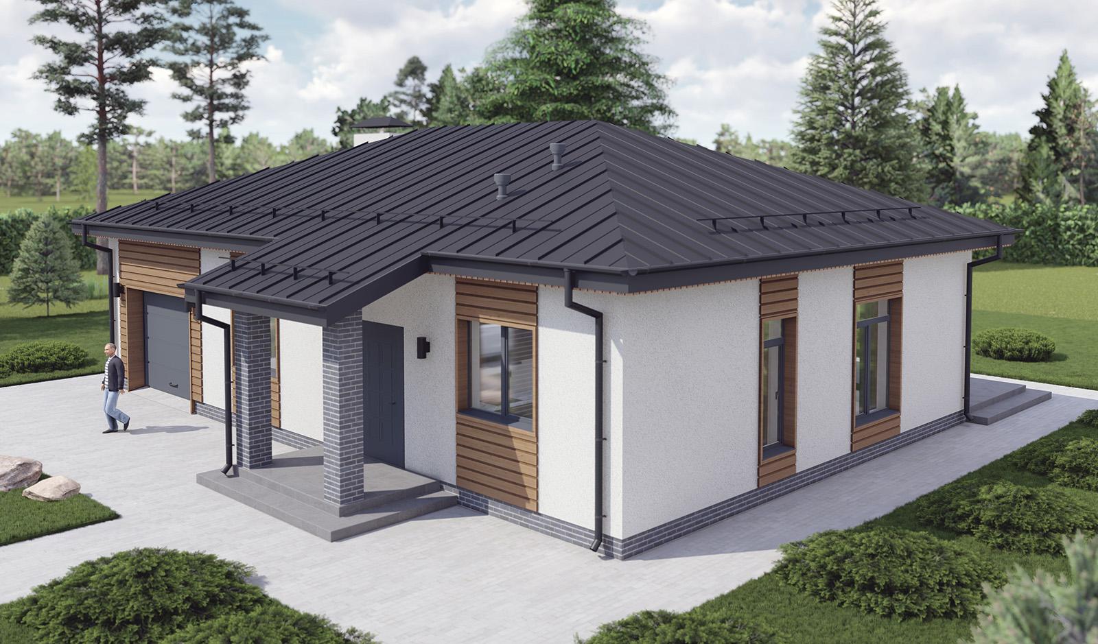 Проект дома 10 на 15 метров с гаражом