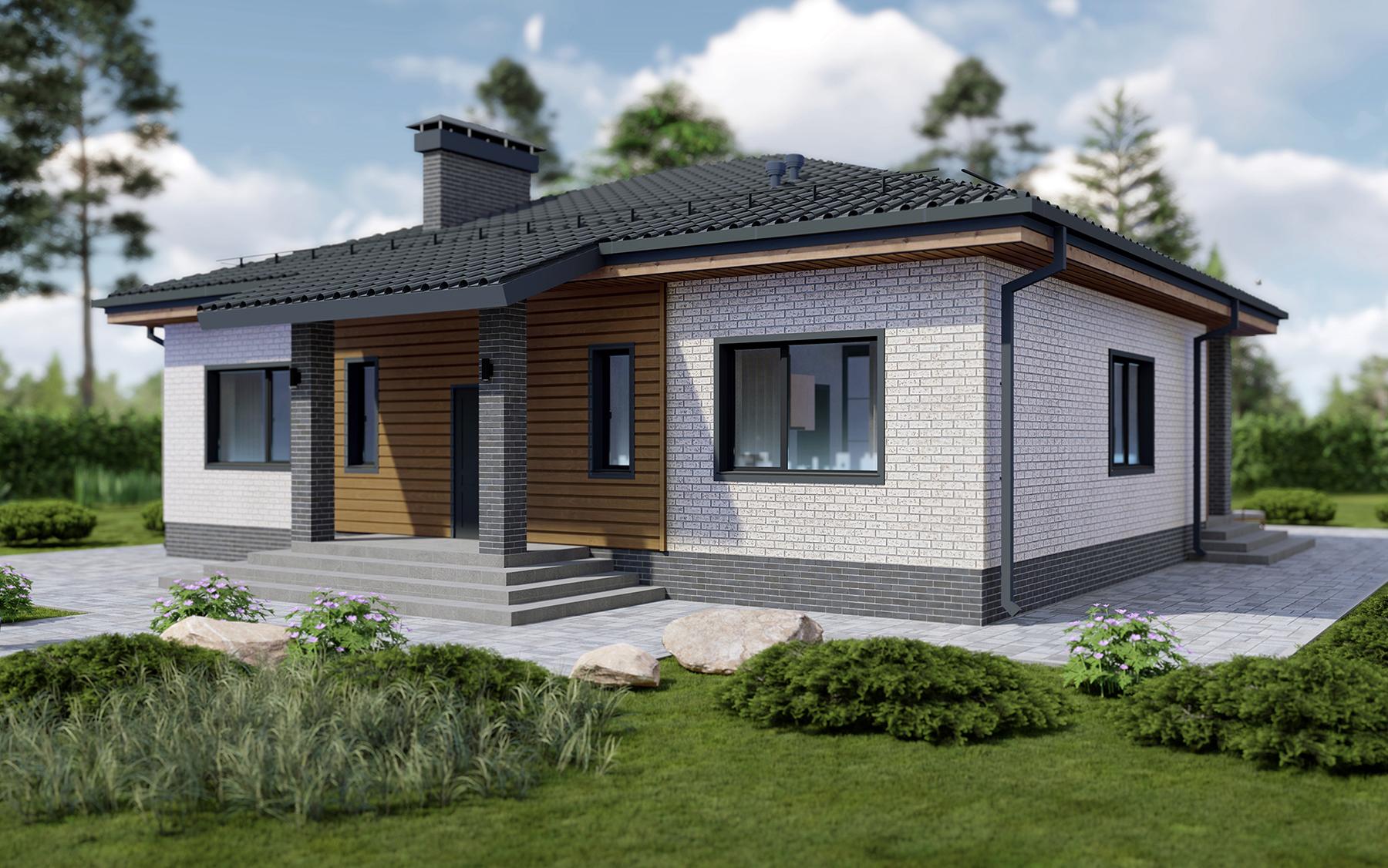 Проект дома 14 на 12 в один этаж с 3 спальнями