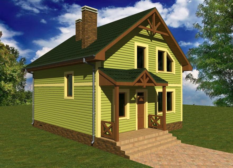 Проект каркасного дома с мансардой 8 на 9 метров