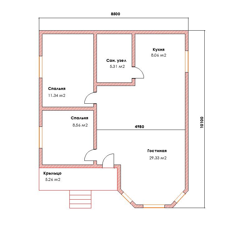 Проект каркасного дома с эркером и мансардой