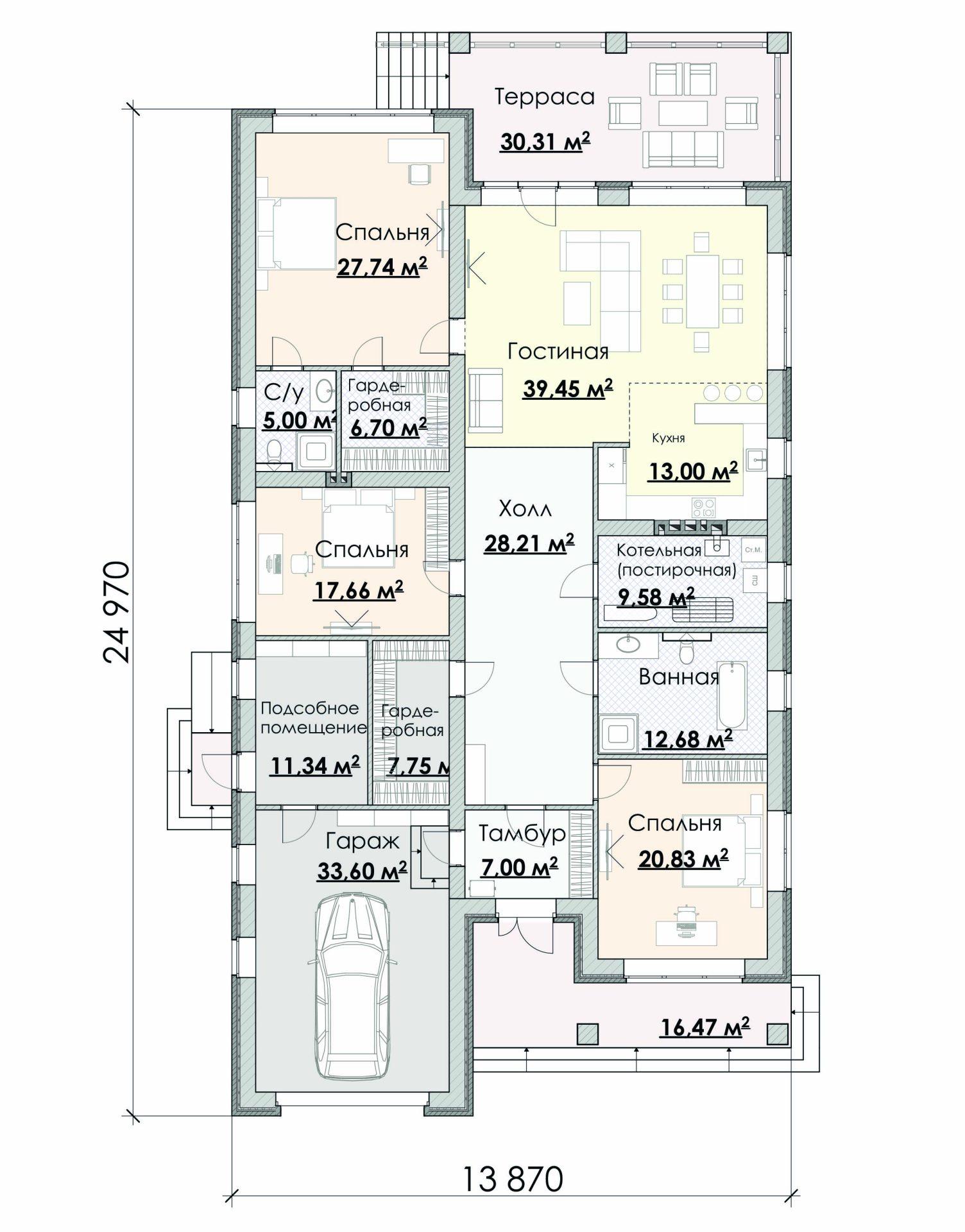 Проект вытянутого одноэтажного дома