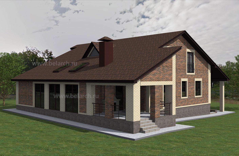 Проект дома с мансардой, большой гостиной, верандой и барбекю